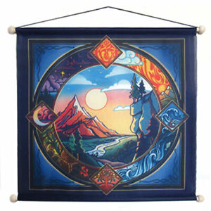 """NEW Four Elements 15"""" Hanging Banner Printed Fabric Pagan Altar Cloth w/ Hanger"""