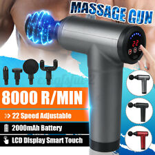 8000 r/min LCD Massage Gun Massagepistole Muscle Massager Massagegerät + 4 Köpfe