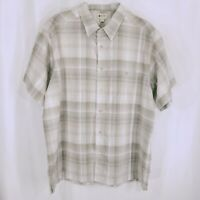 Haggar Mens White Light Brown Short Sleeve Button Down Plaid Shirt Size XXL