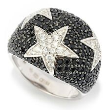 Sterling Silver 2.17ctw Black Spinel & White Zircon Star Band Ring Size 6