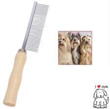 Pet Dog Cat Metal Teeth Grooming Hair Comb Brush Fur Rake Tool Wooden Handle
