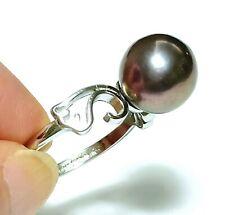 Genuine Natural Black Purple Edison Round 10mm Cultured Pearl Ring Size 8 - 9