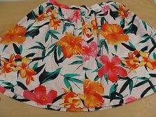 H&M White Cotton Floral Knee Length Skirt  Size 18 BNWT 1950s Rockabilly