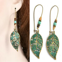 Vintage Earring Boho Hollow Leaf Beads Dangle Earrings Ear Stud Charm Jewelry