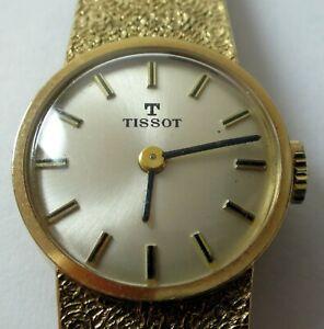 Tissot 9ct gold watch & integral solid 9ct bracelet c1978 working order manual