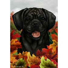 Puggle Black Fall Leaves Flag