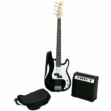 More details for new! pb precision style black 4 string electric bass guitar & 15w amp