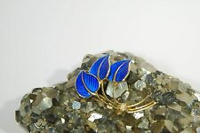 Blue Enamel 3 Leaf Pin Brooch Vintage Norway Solid Sterling Silver w/Gold Plate
