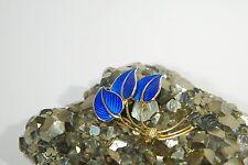 Vintage Norway Solid Sterling Silver w/Gold Plate Blue Enamel 3 Leaf Pin Brooch