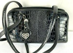 Vintage BRIGHTON USA Black Croc Embossed Leather Shoulder Bag Purse C622504
