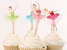 24 DANCING BALLERINA CUPCAKE CAKE TOPPERS PICKS BIRTHDAY PARTY BALLET DANCER