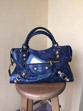 9161ac8cc2 Balenciaga City GGH giant gold bag pelle lambskin blue bleu blu night