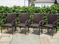 Set of 4 Patio Resin Outdoor Garden Deck Wicker Dining Arm Chairs. Dark Brown