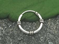 Keltische Creole 925 Silber Ohrring 1 Stück mit Verzierung Ø 12mm Echtschmuck