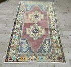 Vintage Purple-Blue Handmade Turkish Area Rug Wool Oushak Anatolian Carpet 4x7ft