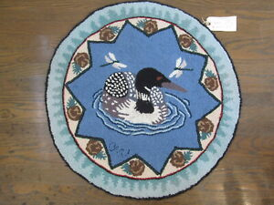 """NWT Claire Murray 30"""" Round Rug """"The Loon"""" Cottager Collection Handcrafted NEW"""