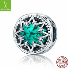 For Women Christmas 925 sterling charm beads with Green Pave Zirconia round bead