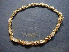 Gem Stone Chunky Tennis Bracelet Grandmas Estate Vermeil Sterling Silver