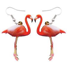 Acrylic Pink Flamingo Earrings Dangle Drop Animal Jewelry For Women Kids Charms