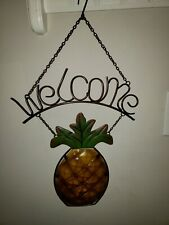 Metal Welcome Sign Hanging Pineapple Shape Yellow /Green Glass New