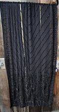 ART TO WEAR HAND BEADED EVENING SHAWL SCARF WITH BLACK BEADS ON BLACK FABRIC!