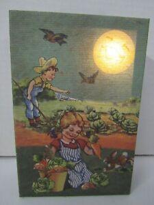 New Lighted Vintage Look Children Gardening Canvas 39440 Sand Pail Art