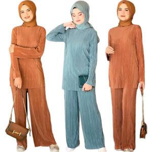 Muslim Women Abaya Long Sleeve Tops Trousers Set Dubai Kaftan Dress Pleated 2pcs