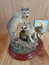 "Wolf Figurine 7"" TAKING THE LEAD Living Stone Gray Tree Stump 2002 Resin"