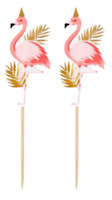 Flamingo Girls Ladies Pink  Birthday Party Cake Picks Toppers Cocktail Sticks