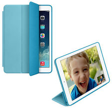 For Apple iPad Air 2 Genuine Leather Smart Case Cover Slim Wake Protector Blue