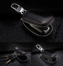 Car Key Chain Bag Genuine Leather Remote Fob Zipper Case Smart Key Holder Cover