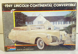 Monogram 1941 Lincoln Continental Convertible 1:24 Scale Model Kit New Open Box