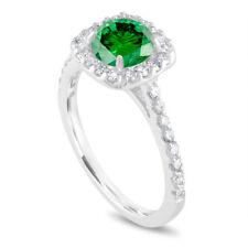 Platinum Enhanced  Green Diamond Engagement Ring, Halo Cushion Cut 1.58 Carat