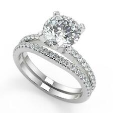 2.6 Ct Round Cut French Pave Classic Diamond Engagement Ring Set VS2 F 18k