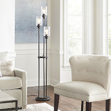 "Casual Floor Lamp (67"") Modern Bronze Glass Shade Indoor Living Room - 3 Lights"
