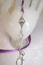 Silver Rhinestone Musical Note & Pink Flowers Murano Beaded Lanyard Badge Holder