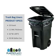 96 Gallon Trash Can Liners Xl Garbage Bags Large Thick Heavy Duty Plastic Black
