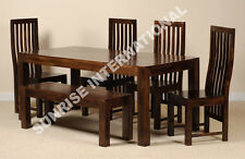 Dark Dakota Range - Wood Dining table with 4 Chair + 1 bench set (6 pc set) !!