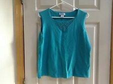 HAMPSHIRE STUDIO Teal Blue Sleeveless Crochet Neck Knit Top  XL NWT