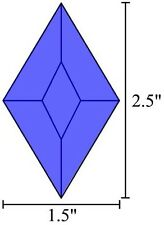 1.5x2.5 Diamond Stained Glass Bevels - Blue - (5)