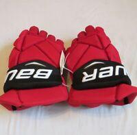 "Used Brian Boyle Bauer Vapor 1X Pro Stock NJ Devils 15"" Hockey Gloves! MeiGray!"