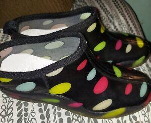 Garden - Rain Shoes Women Black Multi Color Dots Size 8