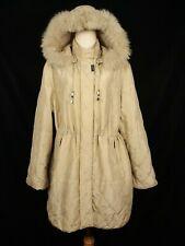 BALMAIN PARIS Women's Silk Coat Detachable Hooded Parka Jacket Tan Size 9 L XL