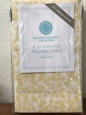 "NEW Martha Stewart ""Leaves"" 300 TC Yellow Floral Cotton 2 Standard Pillowcases"