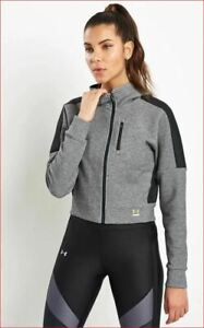 new UNDER ARMOUR women jacket sweatshirt hoodie fitted 1314255 grey L