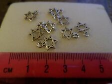 100 X TIBETAN SILVER STAR OF DAVID CHARMS (JEWISH RELIGIOUS PENDANTS FOR JEWELRY