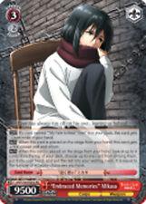 """Weiss Schwarz  x 1 """"Embraced Memories"""" Mikasa [AOT/S50-E052 RR (Mosaic Gloss)] E"""