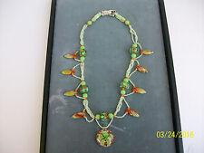"New listing Ireland necklace lampwork glass hand beaded 18.5"" Green Orange White shamrock"