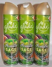 3 GLADE SPRAY ACOUSTIC SAGE DRIED FIG LEAVES BROWN SUGAR AIR FRESHENER 8 OZ