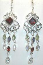 STERLING SILVER Chandelier Earrings with Garnets Blue Topaz Moonstone Peridot
